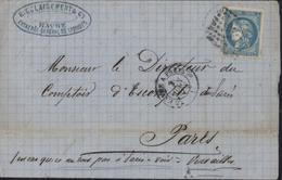 YT 46 Bc Bordeaux Bleu Clair TIII Report 2 Ambulant HP2 Le Havre à Paris 2°A 2 6 71 Suite Commune 2 Adresses Possibles - 1870 Bordeaux Printing