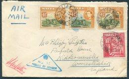 1942 Malta Valletta 1s 3d Rate Airmail Censor Cover - Fairfield House, Kidderminster England. - Malta
