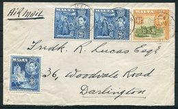 1945 Malta Airmail Cover - Darlington - Malta