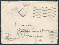 1941 Malta(?) O.A.S. Embossed Dorsetshire Regiment Cover - Barclays Bank, Alexandria Egypt. Censor Cairo - Malta
