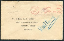 1941 Malta O.A.S. Censor Cover - Reading Berkshire. London SW1 Paid Machine Cancel - Malta