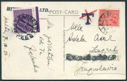 1937 Malta General View Senglea RP Postcard. Valletta - Zagreb. Taxe, Postage Due - Malta