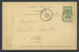 Postwaardestuk 5C Verstuurd Uit Tertre 13 Juin 1907 - Entiers Postaux