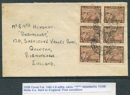 1938 Malta Valletta Cover - Quinton Birmingham - Malta