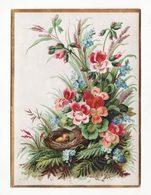 Chromo   Sans Pub Gaufré   Nid D'oiseau Et Fleurs    Grand Format     14.2 X 10.4 Cm - Cromo