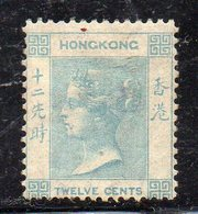 XP2281 - HONG KONG 1863 , Yvert N. 12a Blue Verde SENZA Gomma (2380A) Fil CC. RARO - Hong Kong (...-1997)