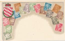 Monaco Stamps On Postcard - Timbres (représentations)