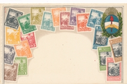 Argentina Stamps On Postcard - Timbres (représentations)
