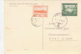 III. Reich, HAUS DER DEUTSCHEN KUNST  Karte  Mischfrankatur Mit Jersey ! Feldpost Nach Ried / Tirol - Weltkrieg 1939-45