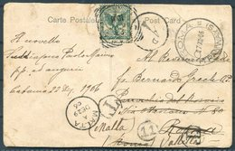 1906 Italy Postcard Rome, Roma Tramways Redirected - Malta. Valletta Postman Delivery Chop 11, Postage Due, Taxe - Malta