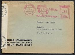 Lettre Avec Affranchissement Mécanique 0.24 Deutsche Reichspost Avec Flamme DEMAG De Berlin Marienfeld Vers Spa (lot 815 - Briefe U. Dokumente