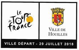 Tour De France 2018 Autocollant Houilles Ville Départ Vélo Sport Cyclisme Cycliste Armoiries Blason Faucon Rapace Oiseau - Ciclismo