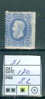 31 X Côte 170€ - 1869-1883 Leopold II