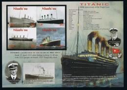 Tonga Niuafo'ou 2012  Yvertn° 345-348 ND Ongetand *** MNH Cote 26 € Transport Bateaux Boten Ships Titanic - Tonga (1970-...)