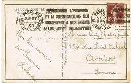 KRAG PARIS XIX PROPAGANDE BEBES PARTIELLEMENT GRATTE  SUR CPA - Marcophilie (Lettres)