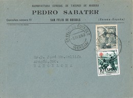 34896. Frontal SAN FELIU De GUIXOLS (Gerona) 1953. Comercial SABATER, Pro Tuberculosos - 1951-60 Cartas
