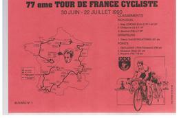 Buvard 77 ème Tour De France Cycliste 30 Juin-22 Juillet 1990 - Sports