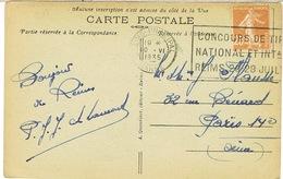 FLIER REIMS CONCOURS NATIONAL DE TIR SUR CPA - Marcophilie (Lettres)