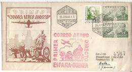MADRID CC CERTIFICADA 1948 PRIMER CORREO DIRECTO ESPAÑA GUINEA AL DORSO LLEGADA BATA - Aéreo