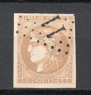 - FRANCE N° 43A Oblitéré Losange GC - 10 C. Bistre Emission De Bordeaux 1870, Report 1 - Cote 90 EUR - - 1870 Emission De Bordeaux