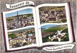 """76. GRAND QUEVILLY. . CARTE MULTI VUES  """" SOUVENIR  DE GRAND QUEVILLY ET ENVIRONS """" .ANNEE 1963 + TEXTE - Frankreich"""