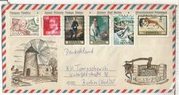 SOBRE TURISTICO PALMA MALLORCA ARTE PINTURA SALMON PEZ FISH ZULOAGA - 1931-Hoy: 2ª República - ... Juan Carlos I