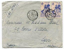 RC 14809 SENEGAL 1945 DAKAR / SUCCURSALE SUR LETTRE PAR AVION POUR LYON TB - Sénégal (1887-1944)