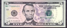 USA 5 Dollars 2013 B  - UNC # P- 539 < B - New York NY > - Billetes De La Reserva Federal (1928-...)