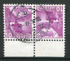 15915 SUISSE N°291Ac° (papier Gaufré) 10c. Lilas Château De Chillon   1936 TB - Tete Beche