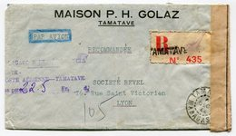 RC 14810 MADAGASCAR 1944 TAMATAVE TAXE PERCUE 22,50F SUR LETTRE RECOMMANDÉE CENSURÉE POUR LA FRANCE  TB - Madagascar (1889-1960)