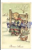 Bonne Année. Petite Fille Dans La Neige Qui Nourrit Les Oiseaux, Houx. Signée Mariapia. 1950 - Autres Illustrateurs