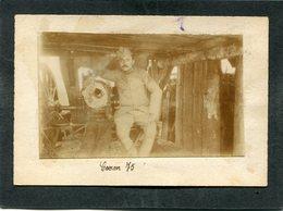 Photo Collée Sur Carton Format CPA - Canon 75, Animé - Guerra 1914-18