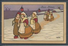 20246 Buon Natale - Paysage Hollandais Procession Dans Un Paysage Hivernal - Illustrateur A. Bertiglia - Noël