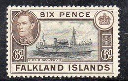 XP4432 - FALKLAND , 6 Pence Bruno E Nero Linguellato  * - Falkland