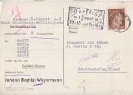 Carte-lettre Pré-imprimée Affr. 3pf Obl. Flamme (Vorsicht Mit Feuer In Wald Und Heide) Potsdam 1  Le 15/9/42 - Milieubescherming & Klimaat