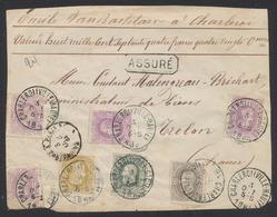 émission 1869 - N°30, 32, 35 Et 36 X4 Sur DEVANT Assuré (8174Frs 80ctm) De Charleroi (Ville-Haute) Vers Trélon (France) - 1869-1883 Leopold II