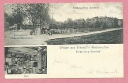 67 - STRASSBURG - STRASBOURG NEUDORF - Gruss Aus Schmidt's Restauration - Rheinstrasse - Tramway-Haltstation - Strasbourg