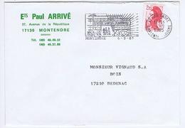 CHARENTE-MARITIME - Flamme Illustrée à Gauche MONTENDRE Du 6 - 9  1985 - Collège Samuel Duménieu - Marcophilie (Lettres)