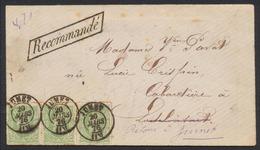"""émission 1869 - N°30 X3 Sur Env. En Recommandé Obl Double Cercle """"Jumet"""" (1876) Vers Lodelinsart, Retour à Jumet. - 1869-1883 Leopold II"""