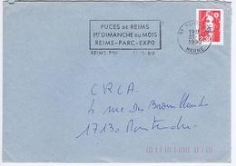 MARNE - Flamme Illustrée à Gauche REIMS Ppal Du 31 - 5  1990 - Puces De Reims - Marcophilie (Lettres)