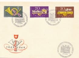 Schweiz - 1949 - Complete Set On Cover With Cancel 75th Anniversaire UPU - Schweiz