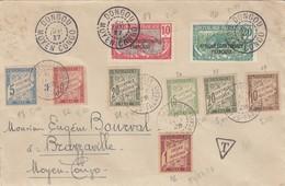 LETTRE. AEF. DONGOU MOYEN-CONGO LE 20 DEC 1927. BRAZZAVILLE LE 6 JANV 1928. BELLE SERIE DE TAXE / 2 - Postage Due