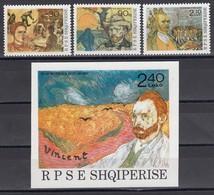 Albania 1990 - Vincent Van Gogh, Mi-Nr. 2441/43+Bl. 92, MNH** - Albania