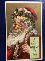 "2 Cpa-""USA-embossed-Happy Santas-golden Background "" - Santa Claus"