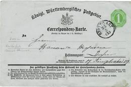 Ca. 1871, Selt. Corresp. Karte , Ohne Büge! ,   #2745 - Wurttemberg