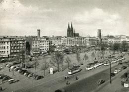 Tram/Strassenbahn Köln,Am Neumarkt,VW Käfer,Opel Olympia,DKW 1000+Universal,1954 Gelaufen - Tranvía