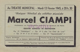 Flyer Concert Récital Piano Marcel Ciampi 1945 - Plakate & Poster