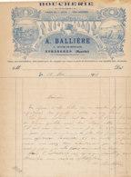 FA 1451- FACTURE -  BOUCHERIE  A. BALLIERERE  AVRANCHES   (MANCHE)  (1918) - Straßenhandel Und Kleingewerbe