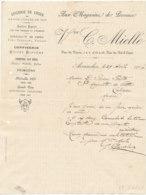FA 1454- FACTURE - EPICERIE AUX MAGASINS DE PROVENCE C. MIELLE AVRANCHES   (MANCHE)  (1904) - Ambachten