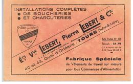 Buvard Ets Vve LEBERT, Pierre LEBERT & Cie 42 Et 43 Quai D'Orléans à Tours Installations De Boucheries Et Charcuteries - Textilos & Vestidos